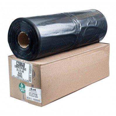Black Compactor Bags 34 x 45 3.5 Mil 100//Roll Plasticplace COM45