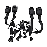 Jiuhexu Under The Bed Restraint with 4 Cuffs Restraints System Kit Medical Grade Velcro Adjustable Soft Wrist and Ankle Cuffs