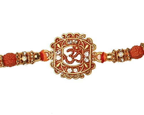 India Store US Big Sale on Rakhi Bracelet for Brother and Bhabhi Band with Beads /& Stone Happy Rakhi Gift//Rakhis//Fancy Bands