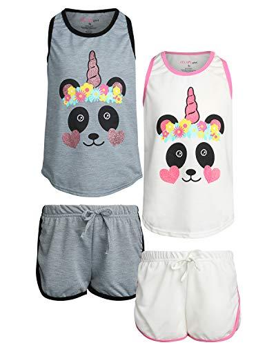 dELiA*s Girl\'s 4-Piece French Terry Pajama Short Set, Panda, Size 7/8']()