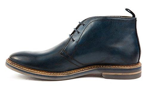 Base London - Zapatos de cordones de Piel Lisa para hombre 42 Azul