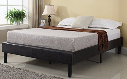 Divano Roma Furniture Bonded Leather Fabric Platform Bed Frame with Wooden Slats – Low Profile Mattress Frame Design Available in Twin, Full, Queen, and King Sizes (Cal King)