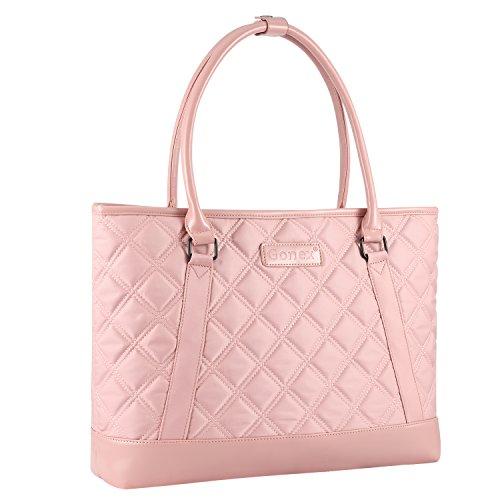Gonex Women Laptop Tote Bag, Lightweight Nylon 15-15.6 Inches Tablet Handbag Shoulder Bag for Women,Computer,Business,Work,Travel Rose gold