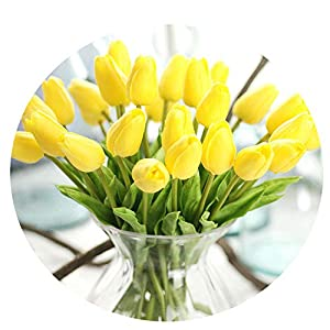 Miao Express 30PCS/LOT pu Mini Tulip Flower Real Touch Wedding Flower Artificial Flower Silk Flower Home Decoration Hotel Party,Yellow,5pcs 2