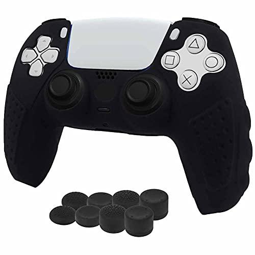 funda + 8 grips para control playstation 5 negro