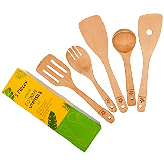 Zhuoyue Wooden Kitchen Cooking Utensils Set - 5 Pcs Wooden Spoons & Spatula Kitchen Cooking Tools for Nonstick Cookware & Wok