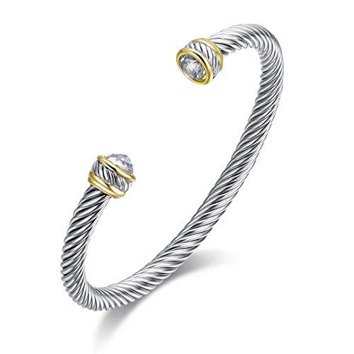 Ofashion Twisted Cable Wire Cuff Bracelet with Clear Crystal (Wire Cuff)