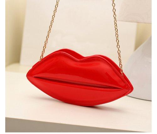 Tonwhar para mujer de piñón libre de raso con diseño fruncido borde de bolsas con cierre de bolsas de correas de cadena de Rosso