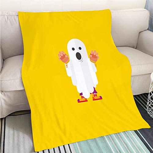 (BEICICI Art Design Photos Cool Quilt Illustration a Ghost Character for Halloween in Flat Style Hypoallergenic - Plush Microfiber Fill - Machine)