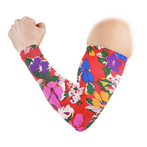 Bold Bright Floral Arm Sleeves UV Protection for Men Women Sunblock Protective Gloves for Running Golf Cycling Driving