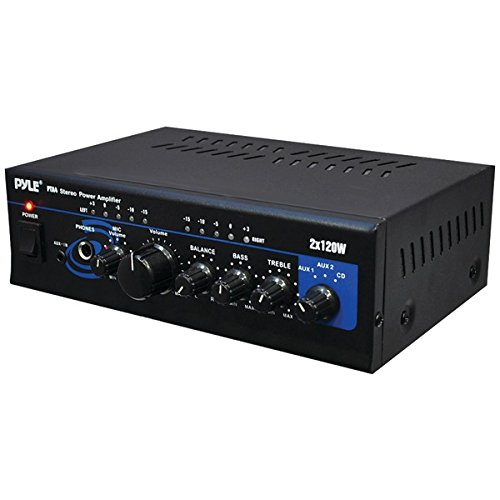 Home Audio Power Amplifier System - 2X120W Mini Dual Channel Mixer Sound Stereo Receiver Box w/ RCA, AUX, Mic Input - For Amplified Speakers, PA, CD Player, Theater, Studio Use - Pyle PTA4 ()