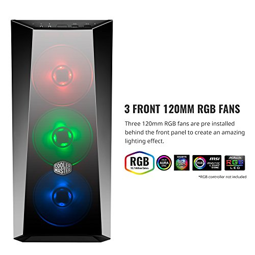 Cooler Master MasterBox Lite 5 RGB ATX Mid-Tower with 3 RGB Fans Tempered Glass Side Panel & External Cases (MCW-L5S3-KGNN-02) Photo #6