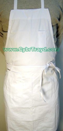 Winco BA-PWH Full Length Bib Apron with Pocket, White