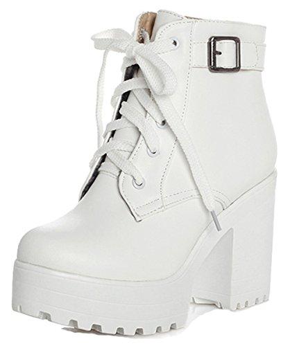 Easemax Mujeres Trendy Round Toe Hebilla Correa Plataforma High Chunky Heel Lace Up Botines Blanco