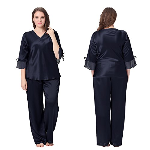 Lilysilk Conjunto de Pijama de Seda De 22 Momme Con Cordones Talla Grande Varios Colores Y Tallas Disponibles Azul Marino