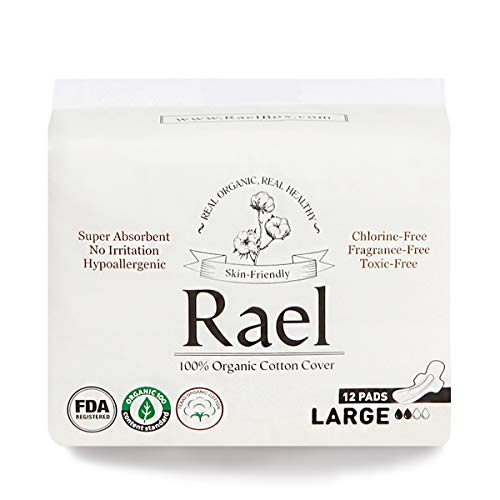 Rael Certified Organic Cotton Menstrual Large Pads - 1Pack/ 12 Total - Ultra Thin Natural Sanitary Napkins with Wings (1 Pack)