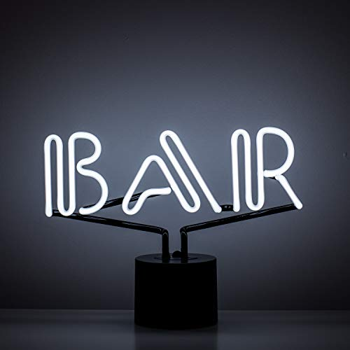 Amped & Co Bar Neon Table Light, Retro Typography Font, Real Neon, White, Large 9x13 inches, Home Decor Neon Signs for Unique Rooms (Best Font For Neon Sign)