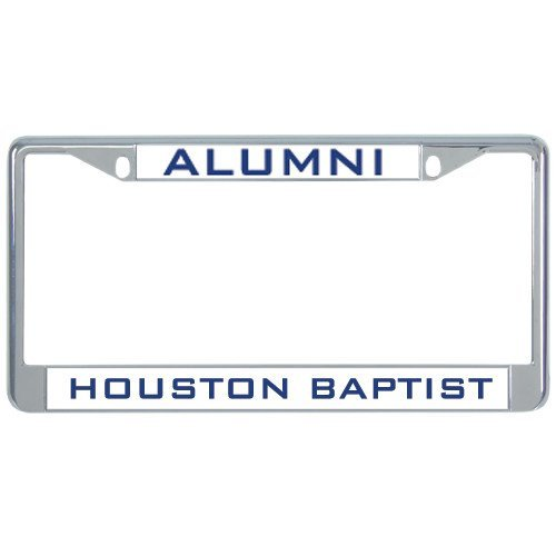 Elvira Jasper Houston Baptist Metal License Plate Frame in Chrome 'Alumini