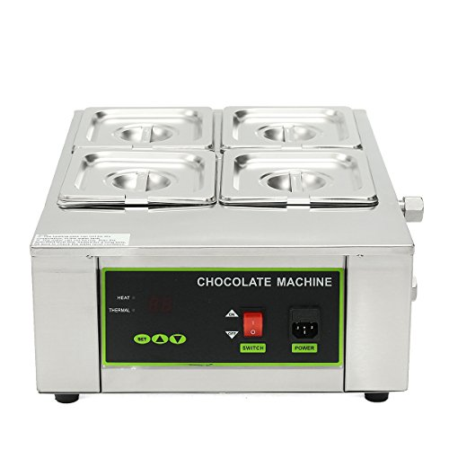 HITSAN 110V-240V 8kg Commercial Electric Chocolate Tempering Machine Melter Maker W/4 Chocolate Melting Pot One Piece