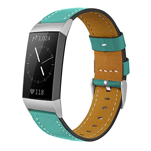 Shangpule Compatible for Fitbit Charge 3 & Charge 3 SE Bands, Genuine Leather Band Replacement Accessories Straps Charge 3 Women Men Small Large (Aquamarine)