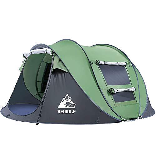 HEWOLF Wurfzelt 2-4 Personen Pop Up Zelt Camping Zelt 4 Jahreszeiten Kuppelzelt Leichtes Großes Familienzelt…