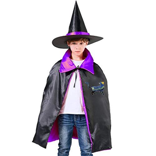 Liu Chao Bengal Cat Van Gogh The Starry Night Boys Girls Halloween Wizard Witch Cloak Cape Hat