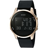 GUESS U0787G1 Men's Stainless Steel Digital Silicone Watch (Black)
