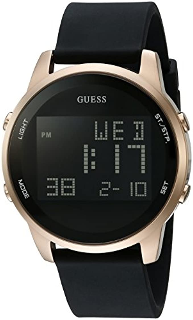 GUESS Men's Black and Gold-Tone Digital chronograph Watch