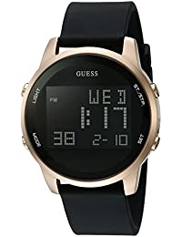 GUESS Men's U0787G1 Trendy Gold-Tone Stainless Steel Watch with Digital Dial and Black Strap Buckle