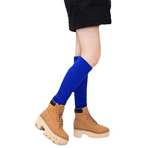 Sun Kea Women Girls Winter Knit Knee High Leg Warmers Fashion Crochet Boots Cuffs Socks Ankle Knee Warmers,Royalblue