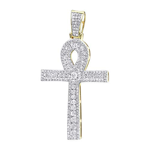 Ankh Diamond Pave Cross Pendant for Men Egyptian Symbol of Life 14k Gold 1.65ctw (Yellow Gold)