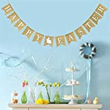 Denzar Happy Easter Home Garden Flag Vertical Spring Summer Yard Outdoor Decorative,Party Decoration Linen Pennant Bunting Banner Rabbit Easter String Flag (D)