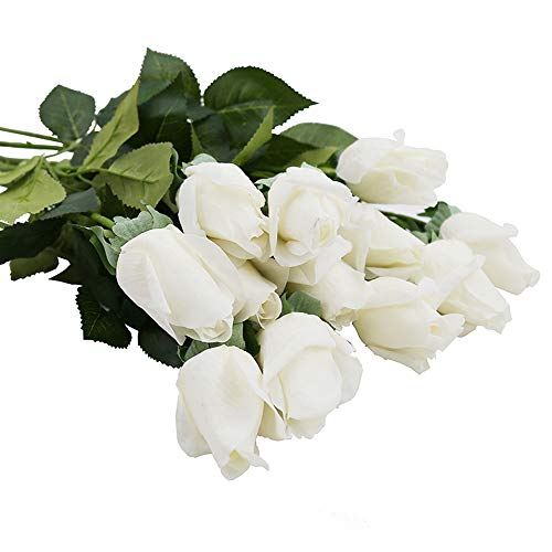 IPOPU Real Like Artificial Silk Roses Flowers,Latex Real Touch Fake Flowers Wedding Bouquet House Garden Office Party Decoration 10Pcs White