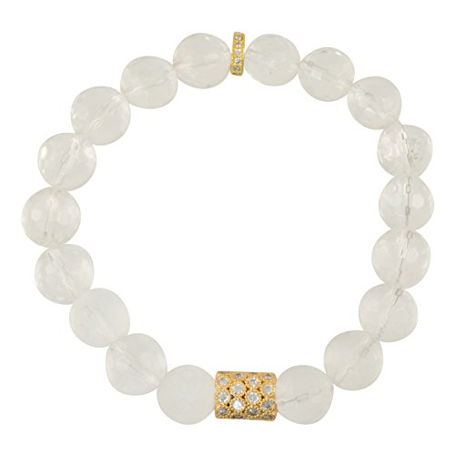 Focal Faceted Bead - Genuine Clear Faceted Crystal Quartz Gemstone Stretch Bracelet with CZ Focal Bead