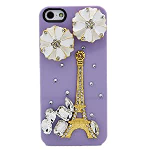 Morton 3D Rhinestone Eiffel Tower&Flower Back Cover Case--PURPLE
