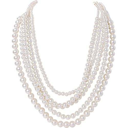 Humble Chic Simulated Pearl Necklace - Long Multi-Layer Strand Faux Round Bead Statement Bib, White, Gold-Tone]()