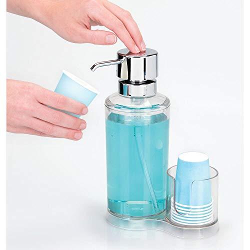 mDesign Mouthwash Dispenser Pump Caddy for Bathroom Vanity Clear//Chrome