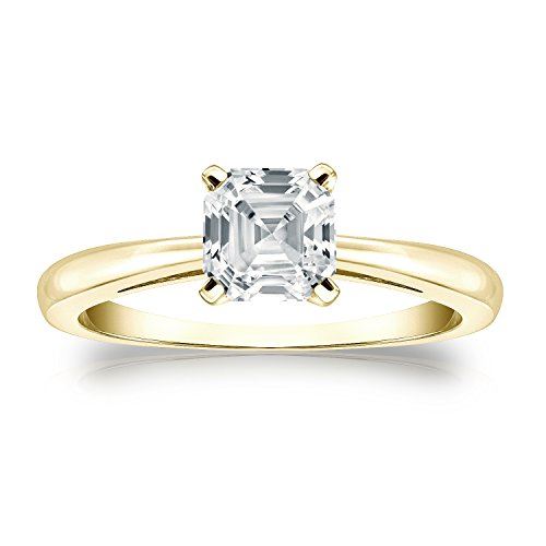 18k Yellow Gold Asscher Diamond Ring 4-Prong (1/2 cttw, H-I Color, I1-I2 Clarity) Size 6.5