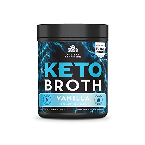 Ancient Nutrition KetoBROTH Powder, Vanilla, 20 Servings - Keto Diet Supplement, High Quality Fats, MCT Oil, Protein, Plus Caffeine and B12 for Ketosis and Energy