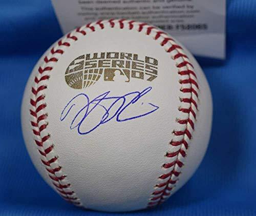 DUSTIN PEDROIA BAS Beckett Autograph 2007 World Series Signed Baseball