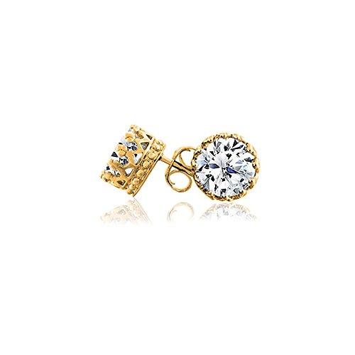Round Vermeil Earrings - Bling Jewelry Mens Gold Vermeil Round CZ Crown Sterling Silver Stud Earrings