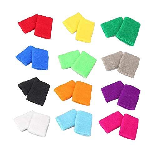 LANGING 12Pcs Colorful Cotton Sweatbands Sports Wristbands Brace for Basketball Tennis Gymnastics Golf Running