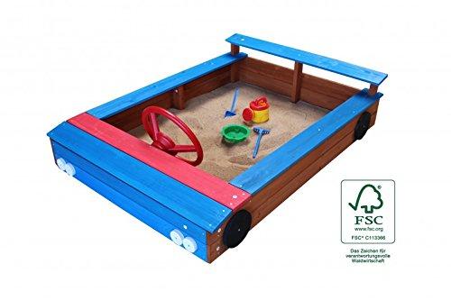 Sandkasten Auto-Form aus Holz mit Stauraum Holzsandkasten Rot oder Blau, Farbe Sandkasten:Farbe Blau
