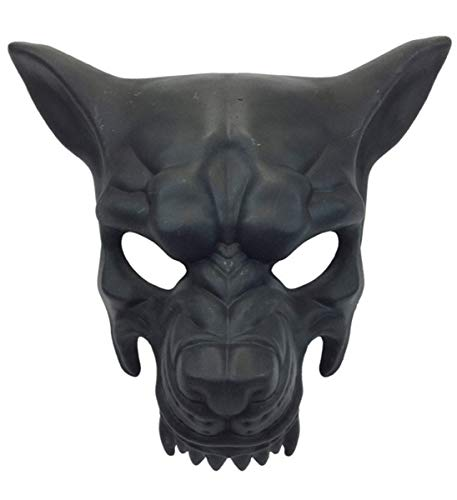 KBW Adult Unisex Wolf Man Black Face Mask, Wild Animal Masquerade Halloween Vintage Victorian Style Retro Punk Rustic Gothic Mechanical Party Bling Costume -