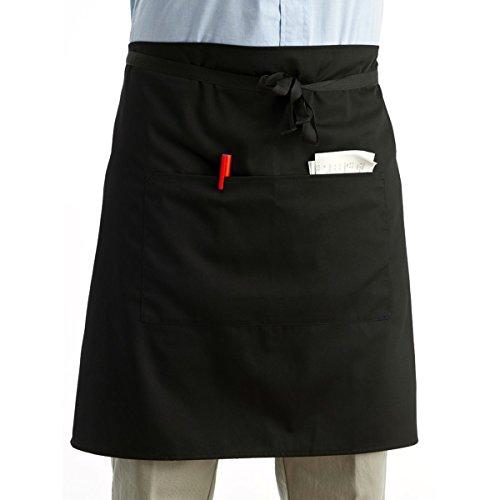 Pixnor Universal Unisex Women Men Kitchen Cooking Waist Apron Short Apron Waiter Apron with Double (Apron Waiter Aprons)