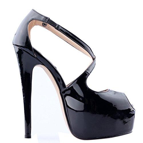Calaier Womens Caumbrella Round Toe 15.5CM Stiletto Slip on Sandals Shoes Black 4Bo4g1pme