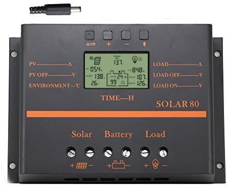 Regulador solar 12V 24V del regulador de la descarga de la carga 80A LCD con el regulador solar del USB