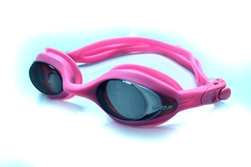 Splaqua Prescription Corrective Optical Swim Goggles - Anti-Fog UV Protection, Stylish, Durable, Goggles Pink Tinted 350 (Swim Kids Goggles Prescription)