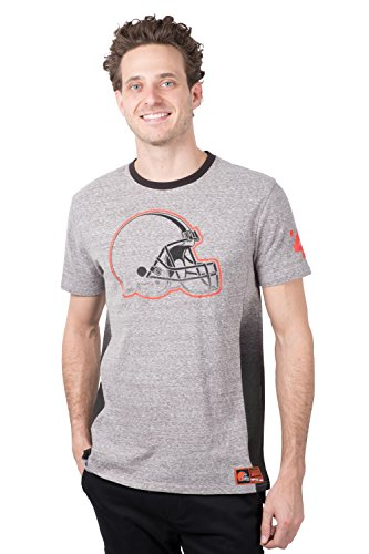 Icer Brands NFL Cleveland Browns Men's T-Shirt Vintage Ringer Short Sleeve Tee Shirt, Medium, Gray -