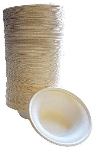 100% compostable and biodegradable DISPOSABLE 12oz BOWLS - (125 COUNT), made from bamboo & sugar cane, excellent strength